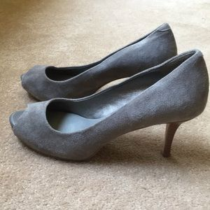 Grey suede peep toe pumps from Banana Republic